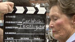 Director James Kicklighter with Actor Edith Ivey, creating on the set of The Car Wash