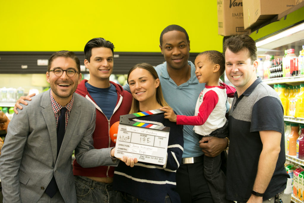 Director James Kicklighter, Axel Roldos, Briana Evigan, Ser'Darius Blain, Elijah Blain and producer Beau Turpin on the set of Angel of Anywhere