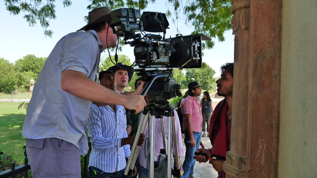 Director James Kicklighter setting up the shot with Director of Photography Tim Gill in Bikaner, India, shooting Desires of the Heart in Rajasthan